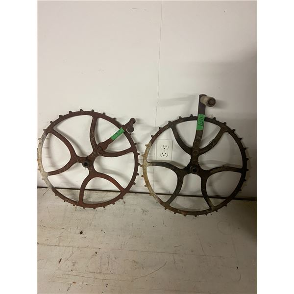 """2 cogged pulley wheel 17"""" across"""