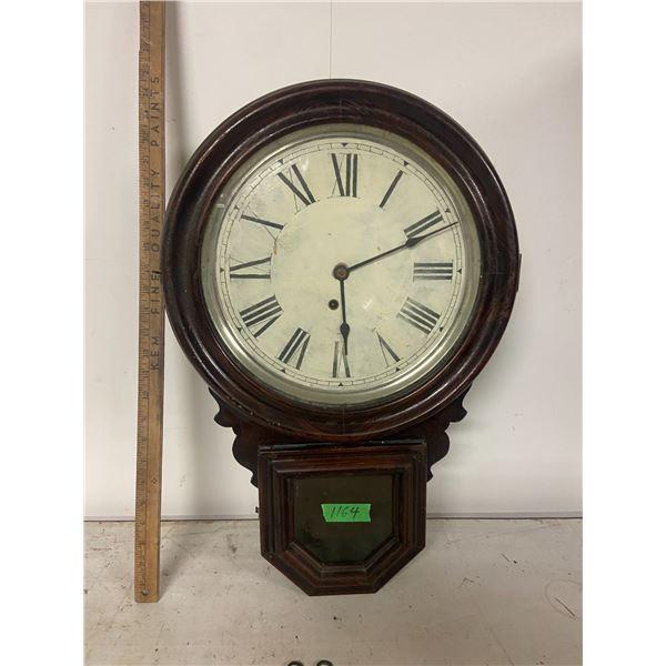 "Vintage windup wall clock Huskey ( no pendulum) 24""x16"""