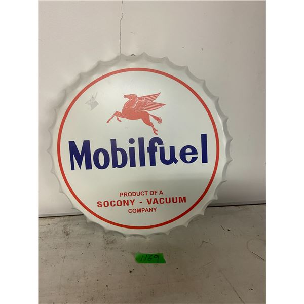 """reproduction 16"""" tin Mobil fuel sign"""