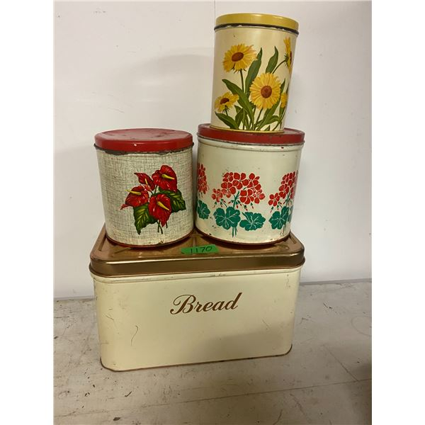 Bread tin and 3 canninsters