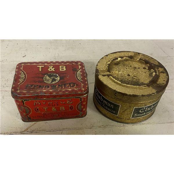 2 tobacco tins T.B tobacco and Clubman