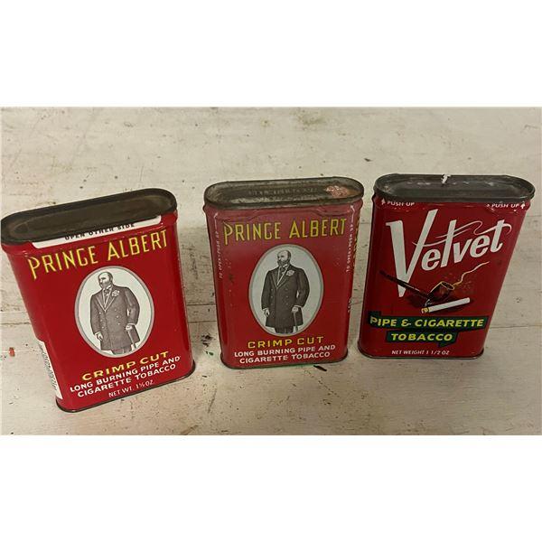 3 pocket tobacco tins - two Prince Albert one velvet