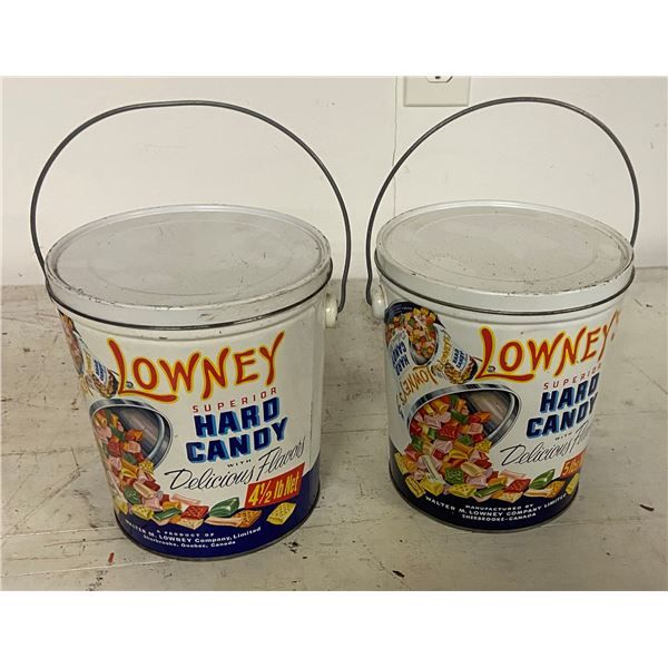 2 candy tins 4.5 lb and 5 lb Lowneys
