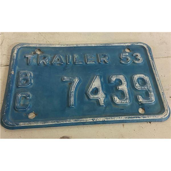 1953 BC trailer license plate