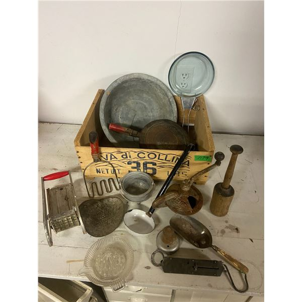 box lot of kitchen collectibles etc