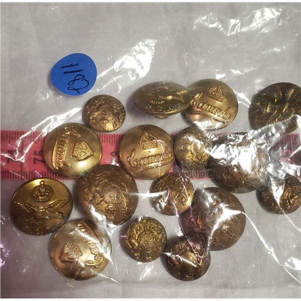 large lot Militaria military / RCMP / her Majasty  style buttons brass colour