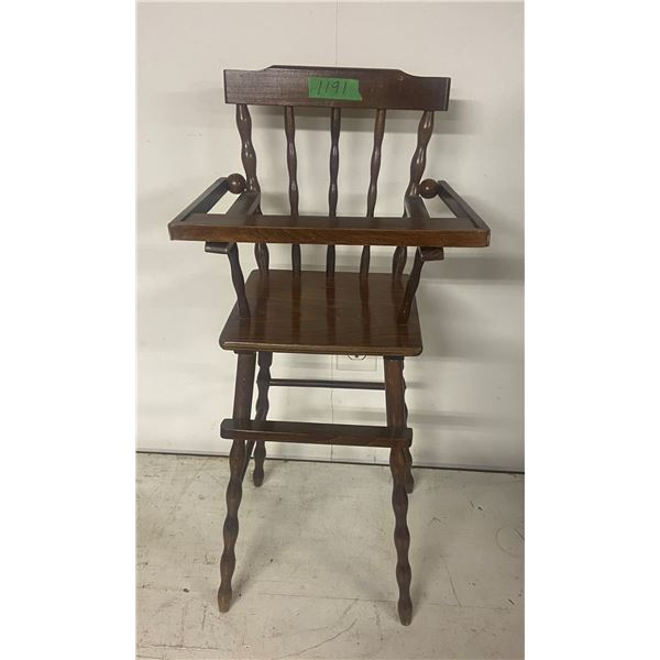 "wooden doll high chair 27"" tall"