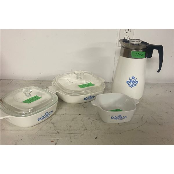 4 piece corning ware coffee pot 2 bowls with lids