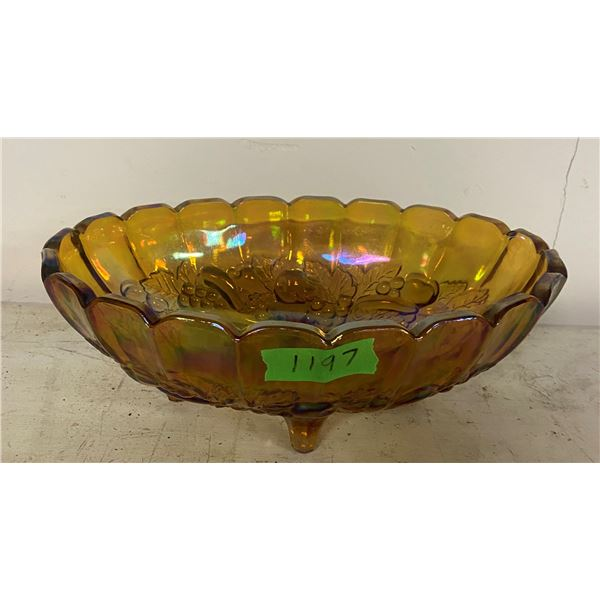 """12"""" Carnival glass bowl - footed"""