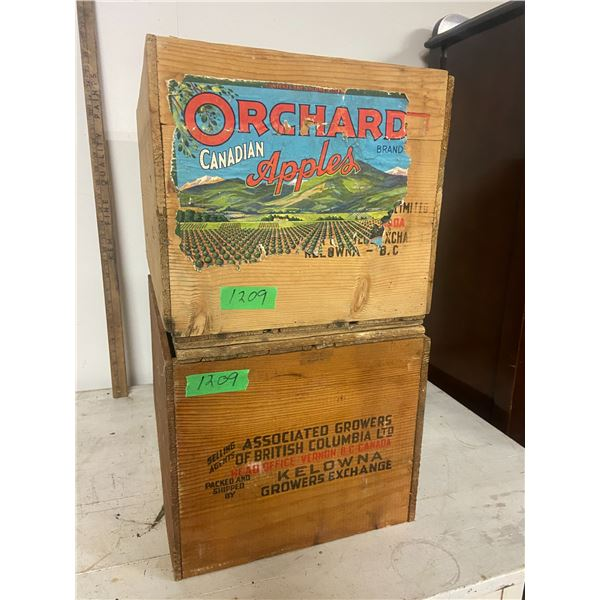 2 wooden fruit boxes