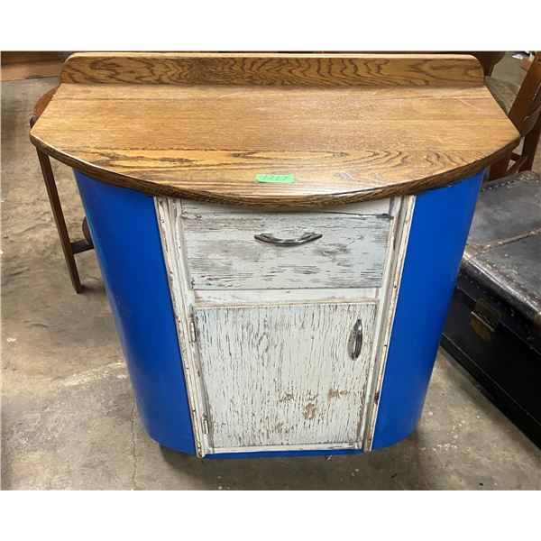 """Art deco Metal cabinet sides wood top and doors 33"""" wide 32"""" tall"""