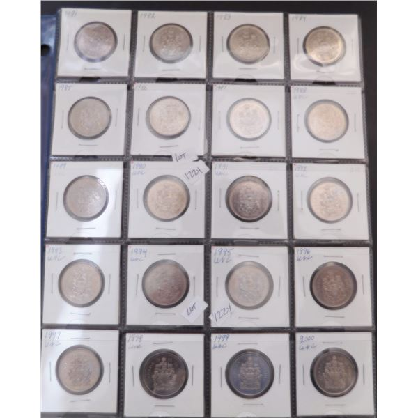 LOT OF 50 CENT PIECES 1981 TO 2000