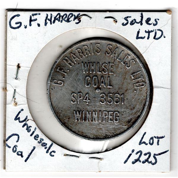 G.F. HARRIS SALES LTD WHOLESALE COAL WINNIPEG TOKEN SCARCE