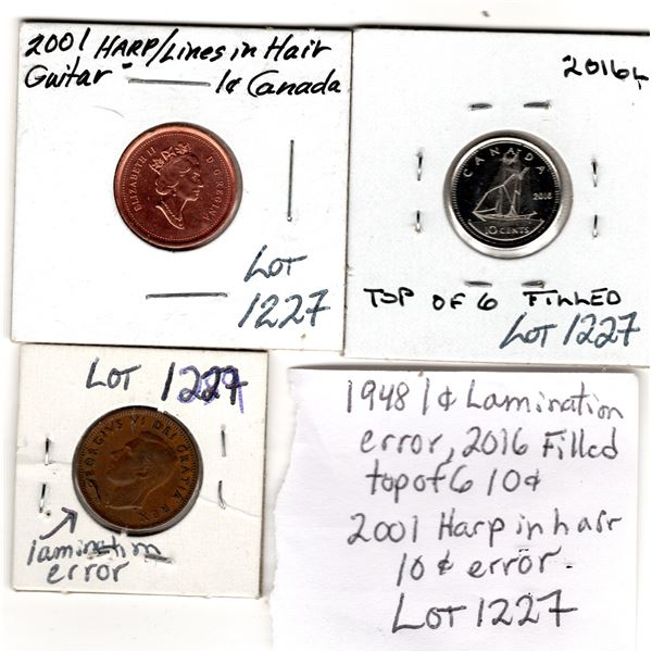 2007 1 CENT HARP IN HAIR ERROR AND OTHER ERROR COINS