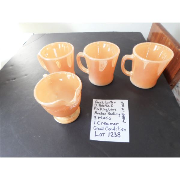 D HANDLE  3 PEACH LUSTER MUGS AND CREAMER FIRE KING