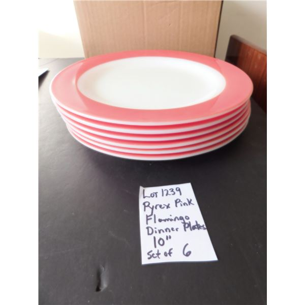 """10"""" FLAMINGO PYREX DINNER PLATES SET OF 6 FROM1950'S"""