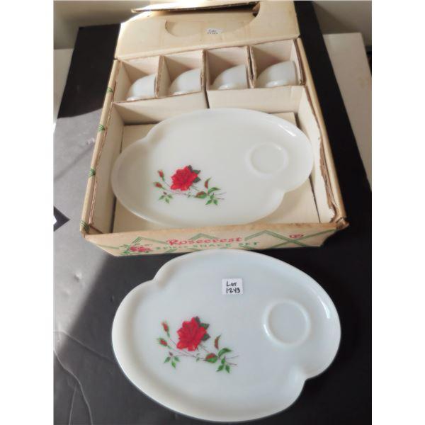ROSE CREST HEAT PROOF DURAWHITE 8 PIECE SNACK SET IN BOX