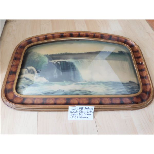 """VINTAGE BUBBLE GLASS FRAME WITH ORIGINAL WATERFALL SCENE 15 BY 22.5"""""""
