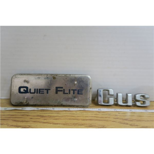 """Quiet Flight and Ford """"Cus"""" Emblems"""