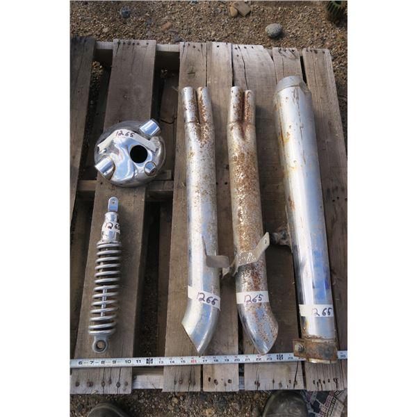 3 Motorbike Exhaust Pipes, 2 Matching, 1 Shock, 1 Headlight Housing