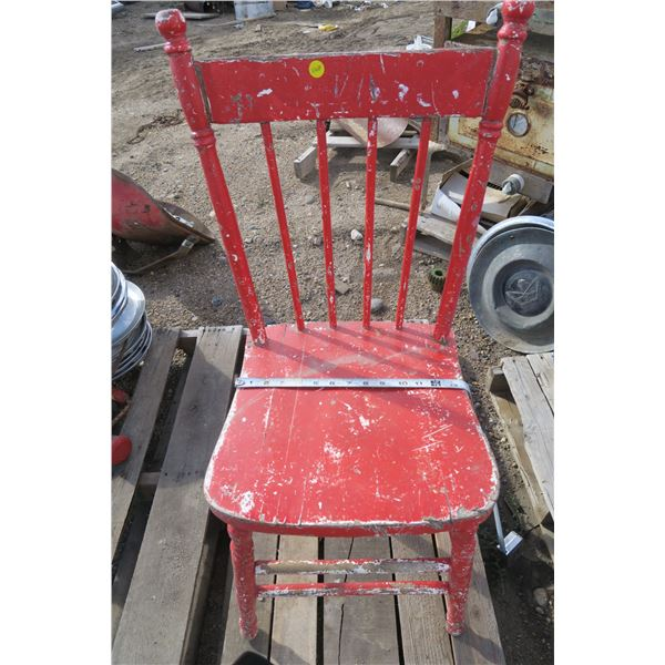 Red Wooden Painted Kitchen Chair