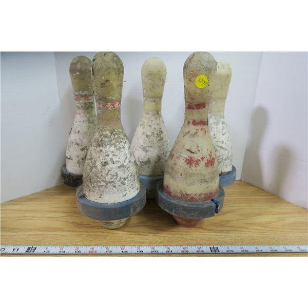 5 Vintage Bowling Pins