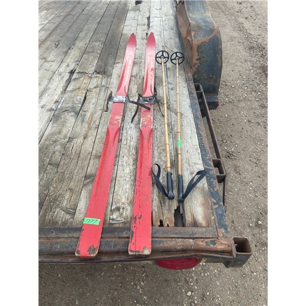 """Wooden Skis and poles 79""""  long made in Sweden"""