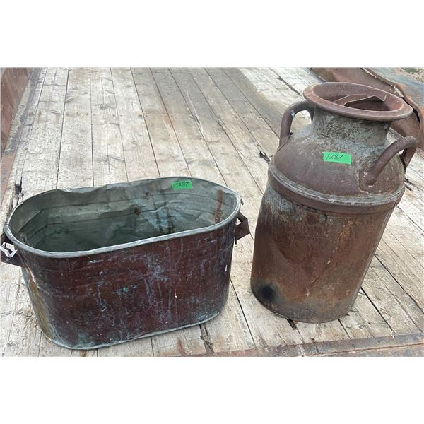 Copper boiler and 8 gallon cream can - dented