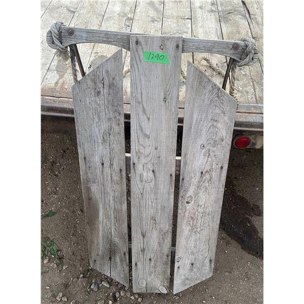 """vintage wooden slay metal runners 36""""x22"""""""