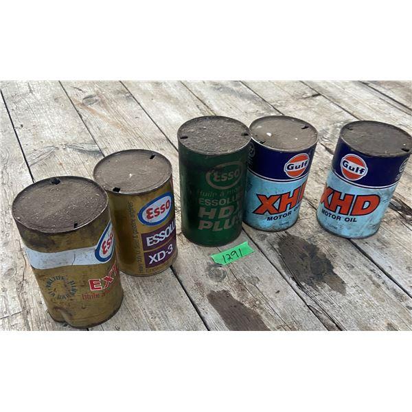 5 collectible oil tins 3 Esso 2 Gulf
