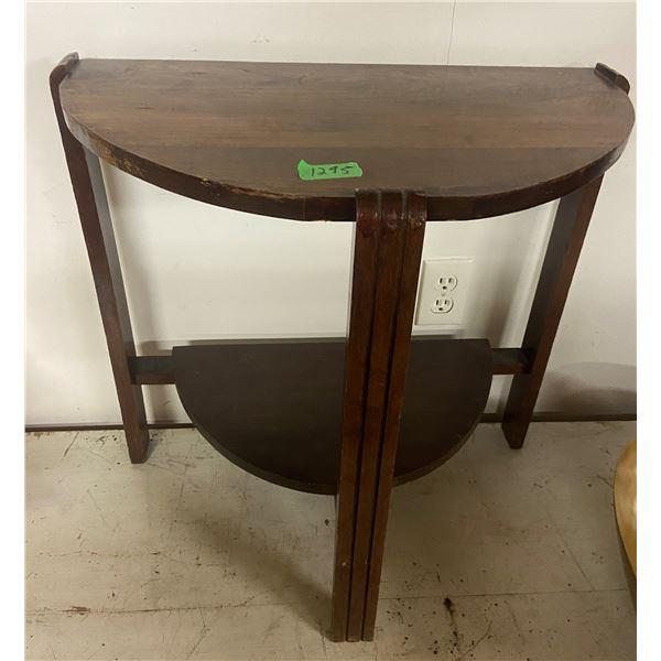 """Walnut D table 23"""" w 22"""" h"""