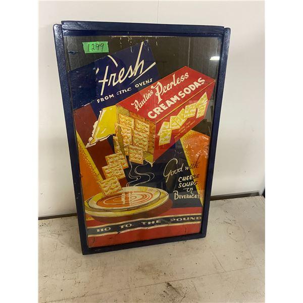 Poulins Soda Cracker Cardboard sign framed. Vintage Advertising