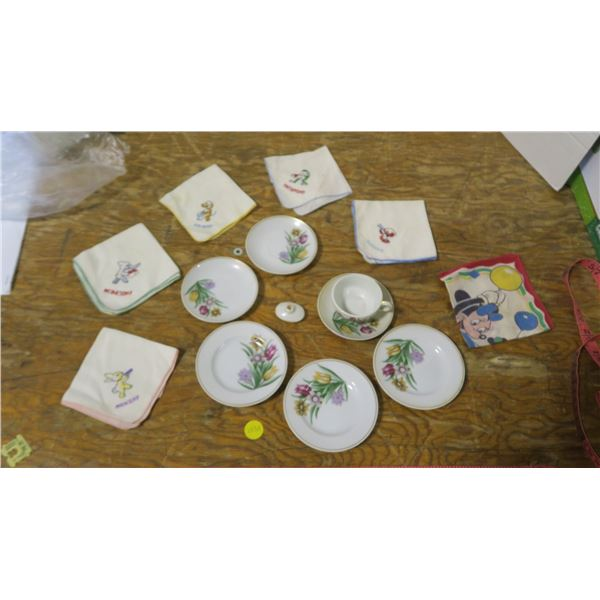 Children's Cloth Handkerchiefs, old and Children's 'Tea Party' Dishes