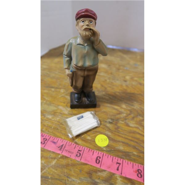 """Smoking Fisherman Statue with """"cigarettes"""" (try lighting a cigarette!)"""