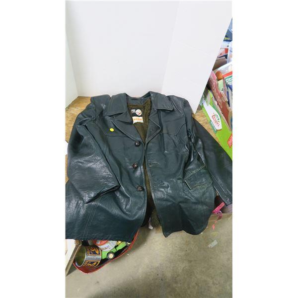 Men's Lined Green Leather Coat and Men's Blue Velvet Velcro Bowtie