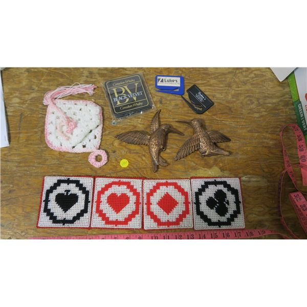 4 Handmade Bridge and Game Drink Coasters, Crocheted Wall Hanging Pouch and 2 Plastic Wall Hanging