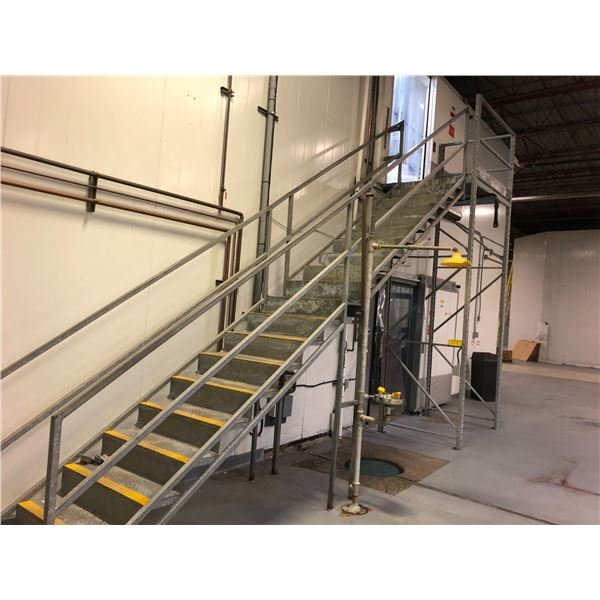LARGE LOT OF METAL CATWALK WITHIN LOT 1 AND STAIRS TO SECOND FLOOR.