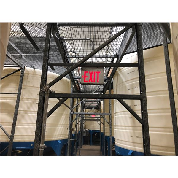 LARGE LOT OF METAL CATWALK WITHIN LOT 27 AND STAIRS TO SECOND FLOOR.