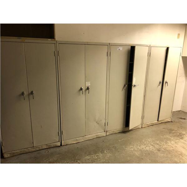 REMAINING CONTENTS OF ROOM INC. 4 X 2 DOOR METAL STORAGE CABINETS AND METAL SHELF