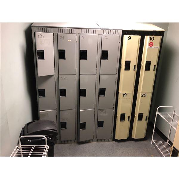LOT OF STAFF LOCKERS, 32 DOORS