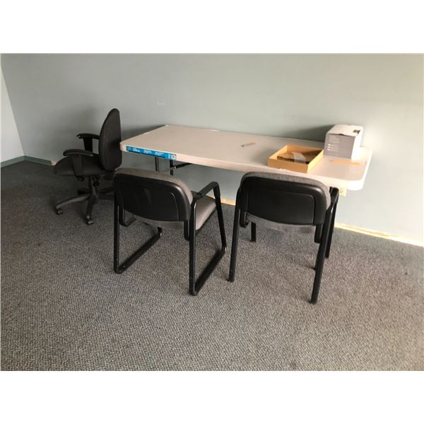 CONTENTS OF FRONT OFFICE INC. RECEPTION DESK, 5 CHAIRS,