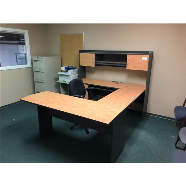 CONTENTS OF OFFICE INC. U-SHAPED EXECUTIVE DESK SUITE WITH HUTCH,
