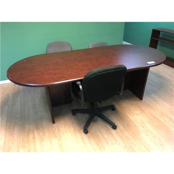 8' MAHOGANY BOARDROOM TABLE, DESK, 2 X BOOKSHELVES, 4 CHAIRS
