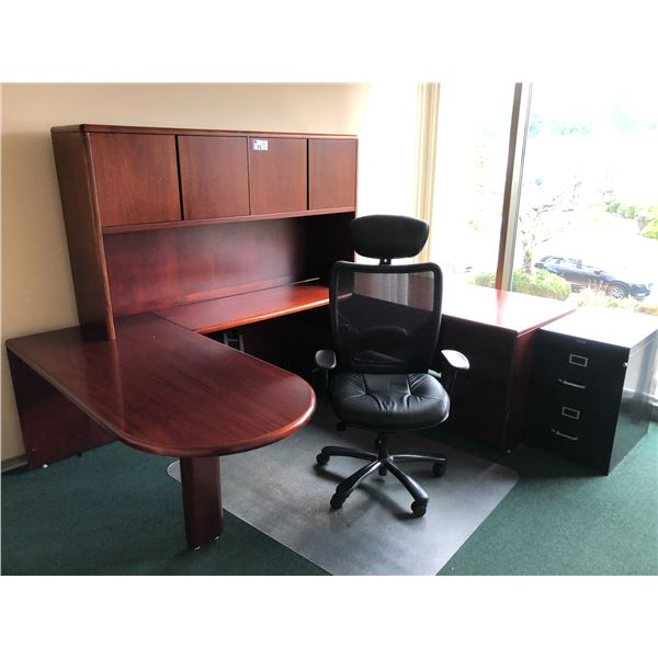 CONTENTS OF OFFICE INC. MAHOGANY U-SHAPED EXECUTIVE DESK SUITE WITH HUTCH,