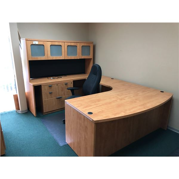 CONTENTS OF OFFICE INC. MAPLE U-SHAPED EXECUTIVE OFFICE SUITE WITH HUTCH,