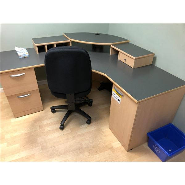 CONTENTS OF OFFICE INC. MAPLE U-SHAPED DESK WITH HUTCH,