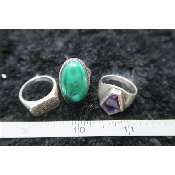 Lot of 3 sterling silver rings