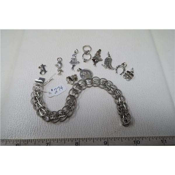 Sterling silver charm bracelet and of charms