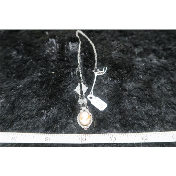 Sterling silver necklace with marcasites  and cameo
