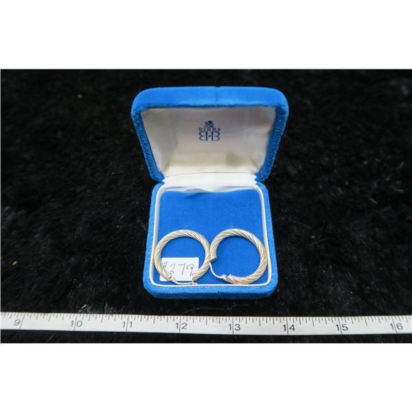 """Sterling silver hoop earrings 1 ¼"""" made in Italy"""